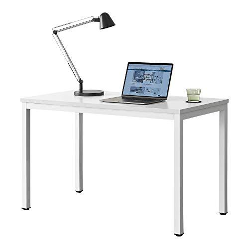 de Madera VASAGLE Mesa de Ordenador Mesa de Estudio Mesa de Comedor 120 x 60 x 76 cm Color Natural y Blanco LWD64N