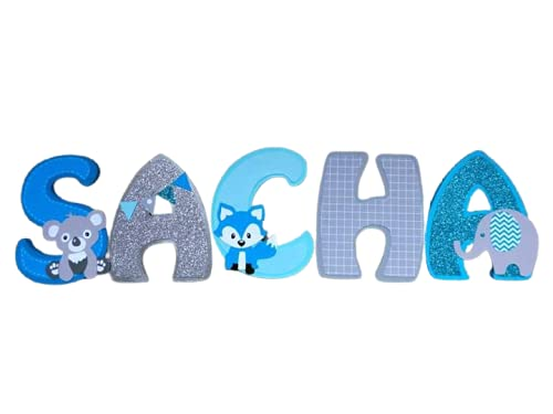 lettre bois enfant thème renard koala, prénom porte personnalisé bleu