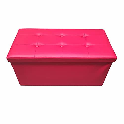 Mercatienda.es Baúl Puff pulí Piel Taburete para almacenaje Plegable en Rojo 76x38x38...