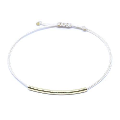 Selfmade Jewelry armband goud - beige armband met goudkleurige buisjes - in grootte verstelbaar - handgemaakt