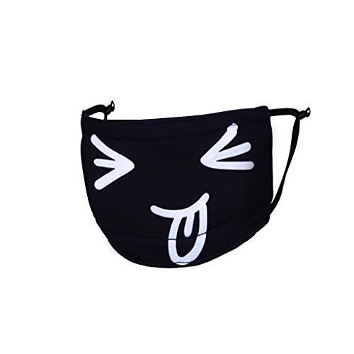 Rovinci Unisex Mundschutz Baumwolle Staubschutz Mode süß Anti-Staub Gesichtsmaske Wiederverwendbar Schwarz Mundmaske Mund Masken für Radfahren für Radfahren Wandern Sport