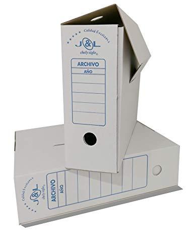 Chely Intermarket, Caja de archivadores cartón montaje automático, Pack de 24 unidades. Ideal para conservar, documentos, facturas y dossier. Tamaño para A4