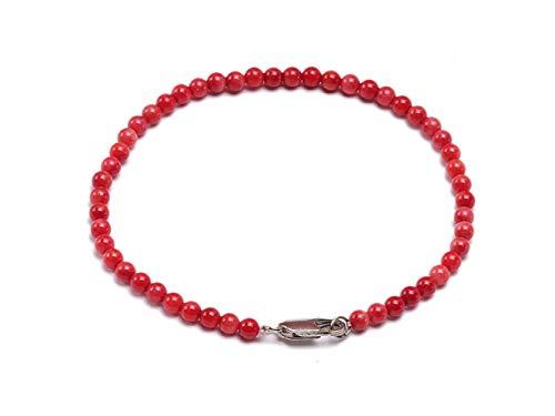 JYX - Braccialetto da donna in corallo rosso da 4 mm, con perline di corallo rosso, 19 cm