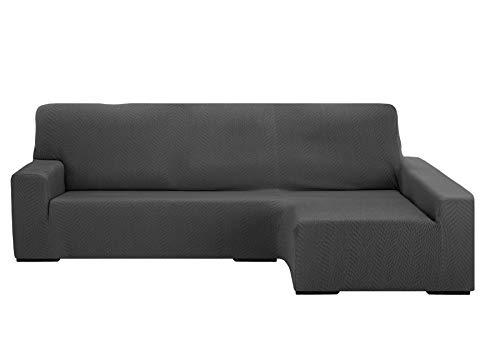 Preisvergleich Produktbild Martina Home Chaise Longue Sofaüberwurf Elastisch Nairobi,  Grau,  Arm rechts,  240-280 cm