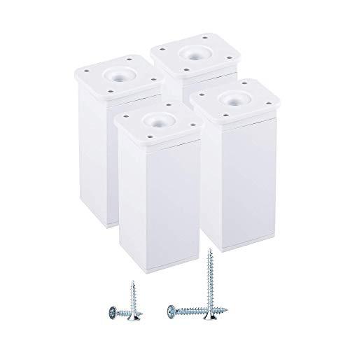 Juego de 4 patas blancas de 10 cm, altura moderna, ajustable, perfil angular: 40 x 40 mm, materiales: aluminio, plástico, tornillos incluidos (4 unidades), color blanco