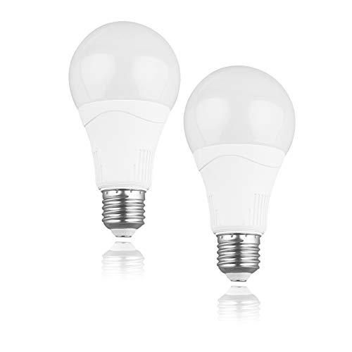 Motion Sensor Light Bulbs Outdoor- A21 E26 Base 15W(100W Equivalent)1500Lm, Motion Sensor Bulb Dusk to Dawn Photocell Sensor Auto on/Off for Front Door, Garden, Yard(2Pack) (5000k)