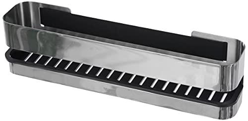 blomus -NEXIO- Duschkorb aus poliertem Edelstahl, praktischer Kunststoffeinsatz für vereinfachte Reinigung, inkl Halterung, exklusives Badaccessoire (H / B / T: 8,5 x 34 x 8 cm, Edelstahl, 68956)