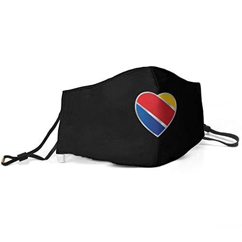Men Women Dustproof Face Mask Adjustable Earloop Southwest-Airlines- Mouth Face Mask Windproof Face Masks Black