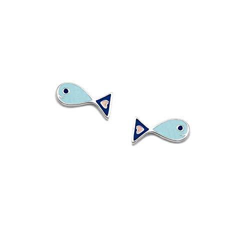 Pendientes plata Ley 925m Agatha Ruiz de la prada 10mm. colección Green pez azul esmaltado