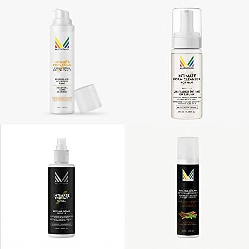 Set de cuidado íntimo masculino: Crema íntima masculina Multivitamin 100 ml, Desodorante/Perfume genital 150 ml. (Vainilla), Limpiador genital en seco 100 ml. y Crema reafirmante glúteos 100 ml.