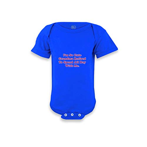 I'm So Cute Grandma Retired to Spend All Day with Me Short Sleeve Envelope Neck Boys-Girls Cotton Baby Bodysuit One Piece - Royal Blue, 6 Months
