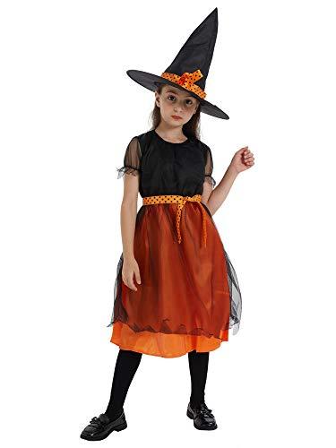 Feynman Costume de Sorcière avec Chapeau pour Fille Costume de Déguisement de Fête d'halloween pour Enfant
