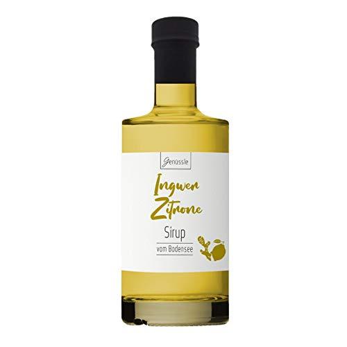 Ingwer-Zitronen-Sirup 350ml - Genüssle Ingwer Zitronen Sirup vom Bodensee - Ingwersirup aus rein natürlichen Zutaten und ohne Zusatzstoffe, Größe:350 ml