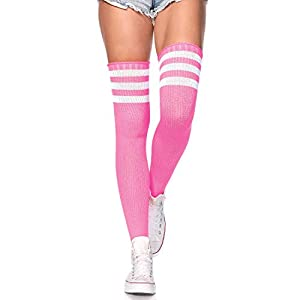 Athletic Ribbed stockings Thigh high stockings One Size fits most Soft and comfortable material Features 3 stripes