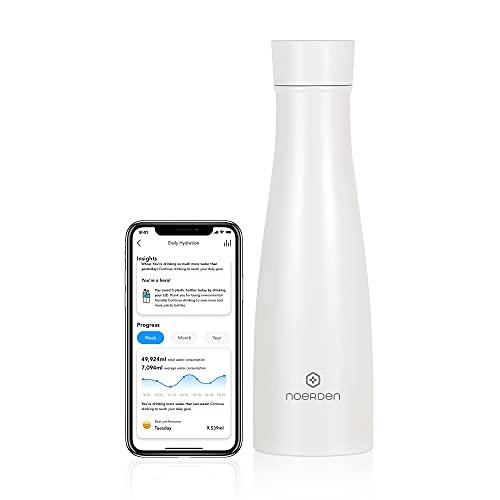 NOERDEN - Bottiglia Intelligente Liz 480 - Borraccia Termica Autopulente in Acciaio Inossidabile - Senza BPA, Sterilizzazione UV, Promemoria Idratazione e Indicatore Temperatura - 0,48l - Bianco