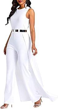 MAGICMK Women Sleeveless High Waist Outfit Overlay Elegant Wide Leg Long Jumpsuit Romper  White L