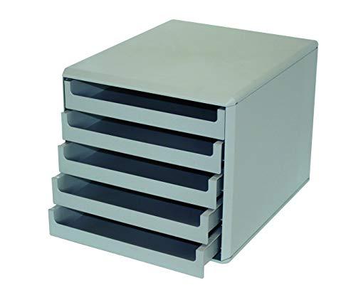 Metzger & Mendle 30050909BE hellgraue Schubladenbox mit 5 hellgrauen Schüben, Recycling, Blauer Engel zertifiziert