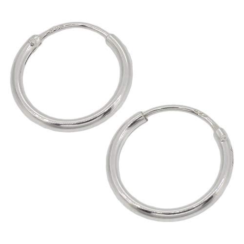 Touch Jewellery TJ6111 - Orecchini a cerchio semplici in argento puro, 12 mm e Argento, colore: Argento, cod. TJ6111