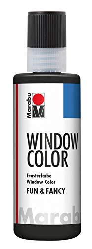 Marabu 04060004073 - Window Color fun & fancy, Konturenfarbe schwarz 80 ml, auf Wasserbasis, ablösbar auf glatten Flächen wie Glas, Spiegel, Fliesen und Folie