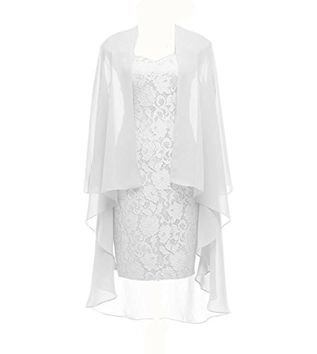 Column 3/4 Sleeves Lace Chiffon Short Wedding Mother Evening Dresses Formal White Size 14