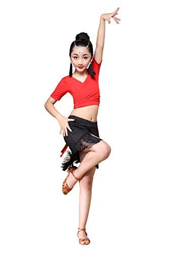 Grouptap Mädchen Latin rot Gesellschaftstanz Quaste Praxis Rock Top Kleid Outfit Kostüm für Kinder Kinder Salsa Tango Samba Cha Cha Rumba (Rot, 130-150cm)