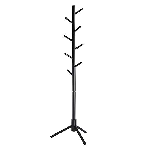 VASAGLE Coat Rack Solid Wood Coat Stand Free Standing Hall Coat Tree with 8 Hooks for Coats Hats Bags Purses for Entryway Hallway Rubberwood Black URCR04BK