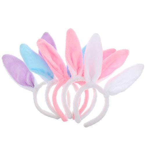 TOYANDONA Hasenohren Haarreif Plüsch Kaninchenohren Haarband Hase Kostüm Kinder Haarschmuck 5 Stück Ostern Frühling Karneval Fasching Party Maskerade Tier Cosplay Foto Requisiten
