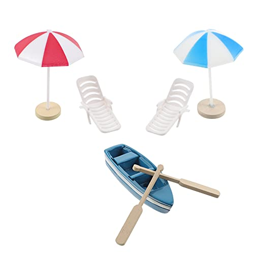 TomaiBaby Kit de Decoración de Casa de Muñecas Miniatura de Estilo Playero Silla de Playa Sombrilla de Escritorio Caja de Accesorios para Casa de Muñecas de Jardín de Hadas DIY Bonsai