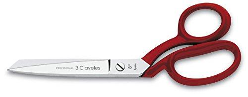 3 Claveles Tijera Sastresa de 8, Níquel, Acero Carbono, Rojo, 20 cm (8)
