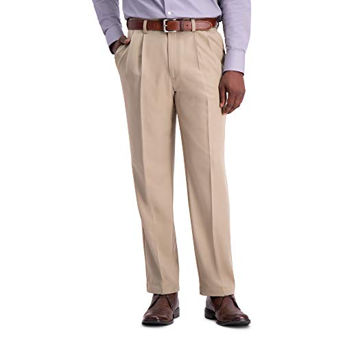Haggar Men's Cool 18 Pro Classic Fit Pleat Front Hidden Expandable Waist Pant with Big & Tall Sizes, Tan, 40W x 29L