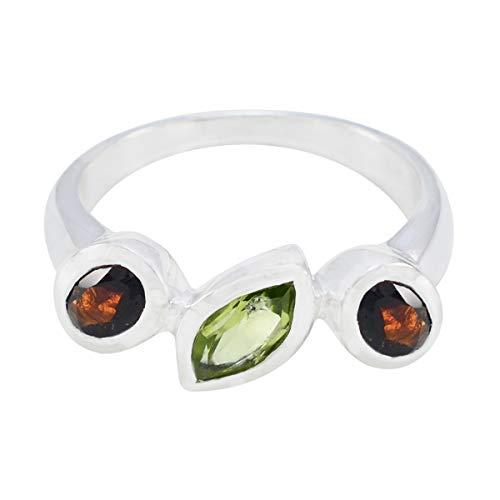 joyas plata real gemstones multi forma tres piedras facetadas multi anillos de piedra - 925 plata multi color multi anillo de piedra - nacimiento de junio géminis