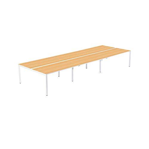 gaerner 6er-Teamschreibtisch mit 60 mm Kabelführung zwischen den Tischplatten | BxTxH = 1400/4200 x 600/1260 x 750 mm | weiß/Buche Bürotisch
