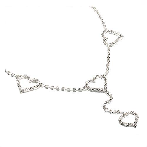 Heart Shape Crystal Body Chain Shining Rhinestone Sexy Waist Belly Chain for Women Girls