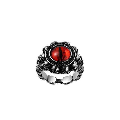 PAMTIER Anillo de Acero Inoxidable para Hombre Ojo de Dragón Rojo Anillo de Calaveras con Piedras Preciosas Retro Talla 19