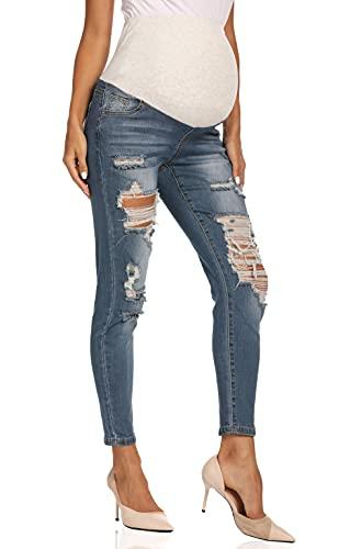 Kegiani Jeans da donna skinny Stretch a costine, con fascia addominale 02 azzurro. S