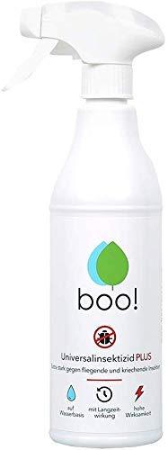 boo! Plus - Extra Starkes Insektenspray - Insektenschutz als Spray Gegen Mücken, Milben, Bettwanzen Etc - Insektizid auf Wasserbasis - Langzeitwirkung von bis zu 3 Monaten - 500 ml