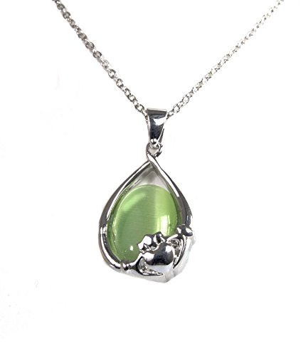 Irish Celtic Rhodium Green Cats Eye Claddagh Pendant by Solvar