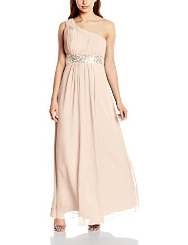 Astrapahl Damen Kleid One Shoulder mit Pailletten, Maxi, Einfarbig, Gr. 32, Beige (Aprikot)