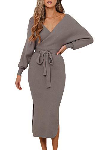 VamJump Women's Long Sleeve Backless V Neck Wrap Batwing Bodycon Sweater Dress with Belt Khaki