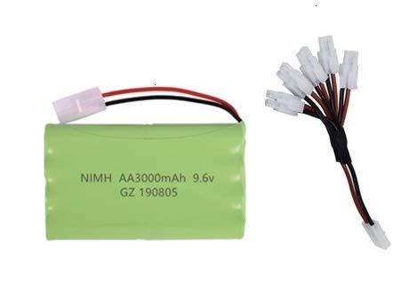 IENPAJNEPQN (H-Modell) NI-MH 9.6V 3000mAh Akku + USB-Ladegerät for Rc Spielzeug-Auto-Behälter Zug Roboter Boote Gun AA 9,6V Akku (Color : White)
