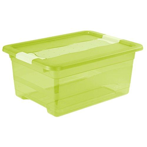 keeeper Aufbewahrungsbox mit Deckel und Schiebeverschluss, 39,5 x 29,5 x 17,5 cm, 12 l, Cornelia, Grün Transparent