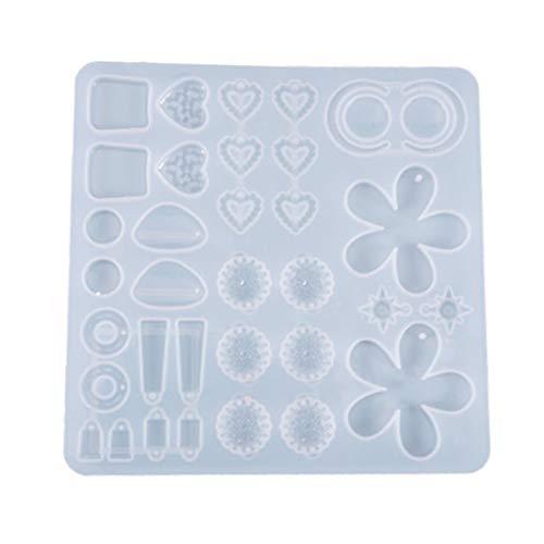 AERVEAL Moldes para Pendientes de Arcilla polimérica, moldes para Pendientes Colgantes, Molde de Silicona de fundición, Colgantes DIY, Molde de Resina epoxi de Cristal