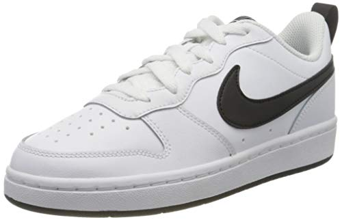 Nike Boys Court Borough Low 2 (GS) Basketball Shoe, WHITE/BLACK, WHITE/BLACK, 37.5
