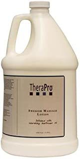 Swedish Massage Lotion by TheraPro - Infused with Pure Sunflower Oil - Unscented, Water Dispersible - Smooth Glide, Lasting Workability, No Residue - Hydrate Skin, Relieve Soreness - (1 Gallon/128oz)