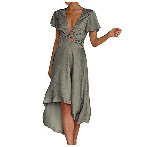 Vestido Sexy con Escote en V Profundo Vestido Elegante de Manga Corta para Mujer Falda Irregular Vestido Suelto Casual de Color SóLido