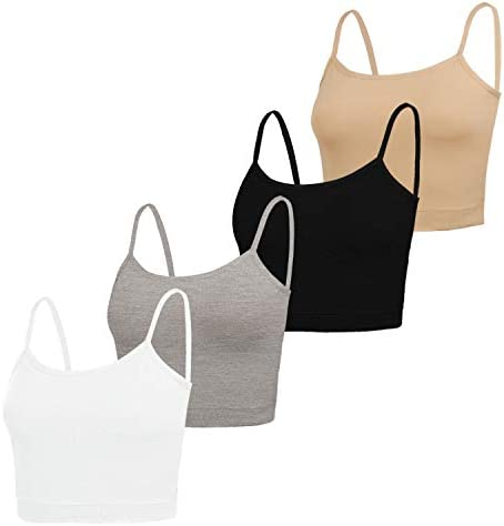 NEWITIN 4 Pack Spaghetti Strap Tank Top Adjustable Strap Tank Top for Women Girls 4 Colors product image