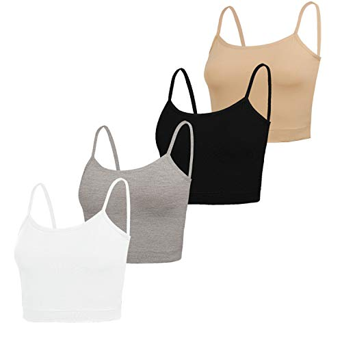 NEWITIN 4 Pack Spaghetti Strap Camisole Top Adjustable Strap Tank Crop Tops for Women Girls