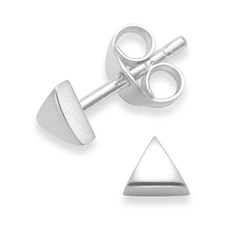 Clous d'oreilles triangle en argent sterling - taille: 4mm 5335. Livrés dans une boîte à cadeau.
