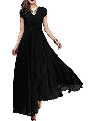 Minetom Damen Elegant Chiffon Maxi Kleid Hohe Taille Langes Abendkleid Partykleid Hochzeit Brautjungfer Brautkleid Cocktail Festliches Kleid Boho...