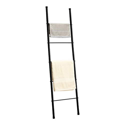 PARANTA 5-Layer Metal Standing Towel Ladder, Storage Towel Rack, Wall-Leaning Display Shelf, Bathroom Decoration, Black